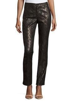 Lafayette 148 New York Metallic Reptile-Print Pants