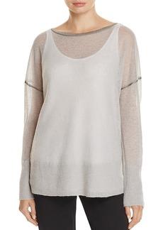 Lafayette 148 New York Metallic Seam Drop Shoulder Sweater