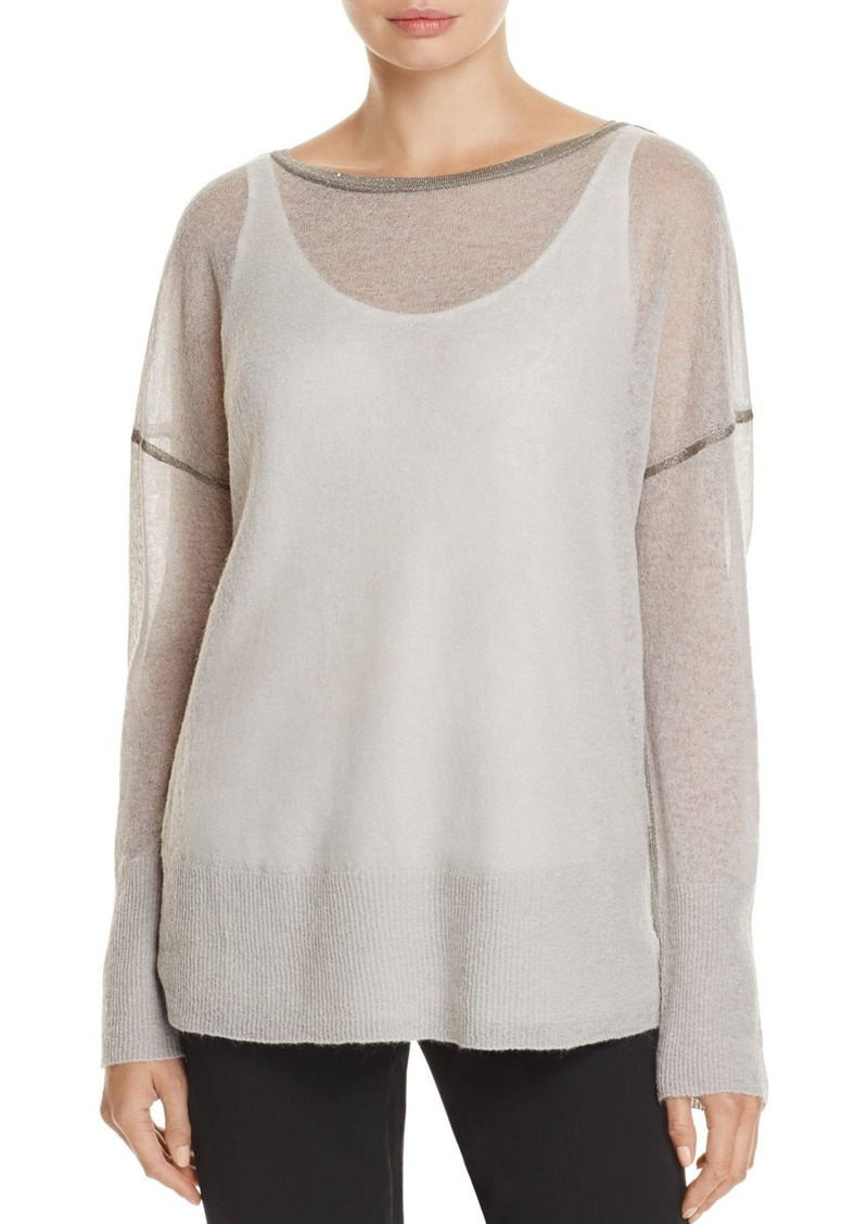 Lafayette 148 New York Metallic Seam Drop Shoulder Sweater