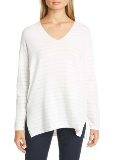 Lafayette 148 New York Metallic Stripe Sweater