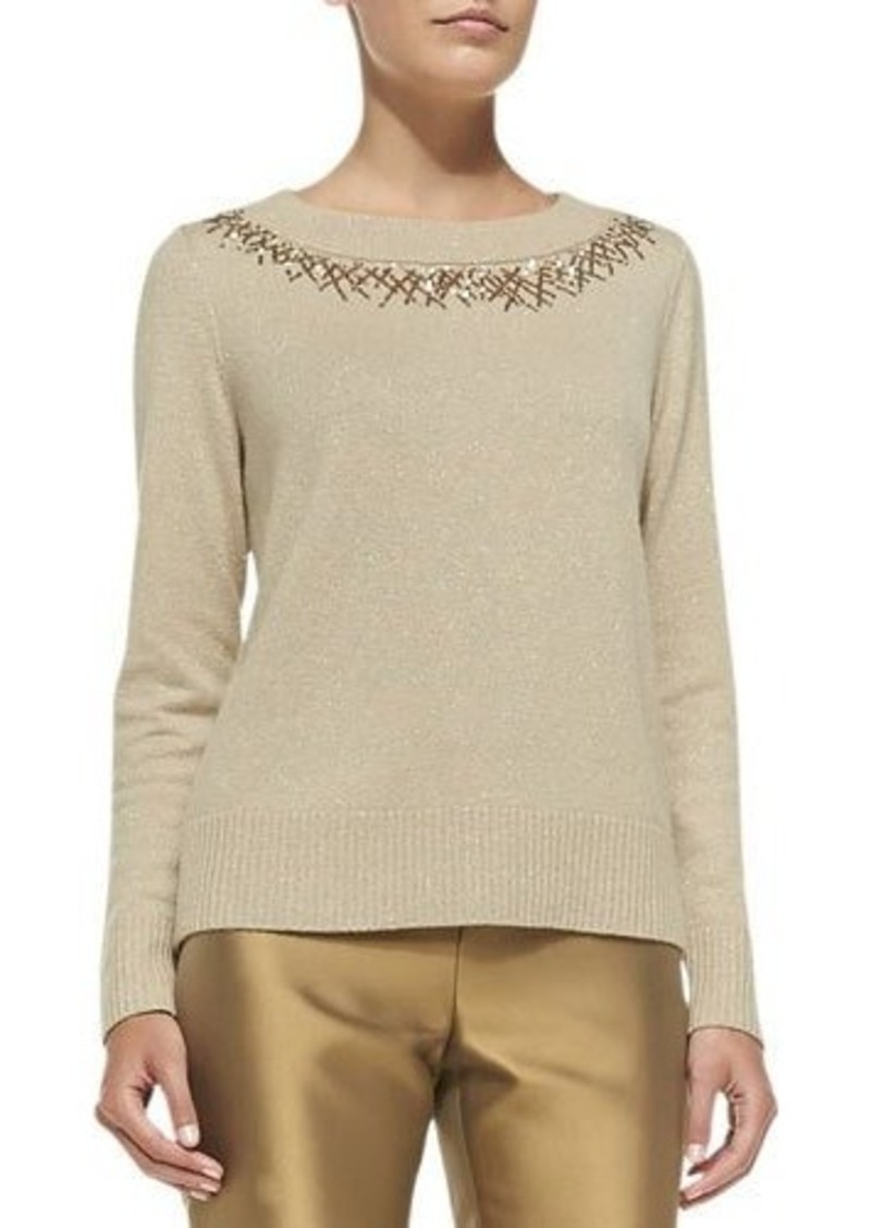 Lafayette 148 New York Metallic Sweater W/Sequined Trim