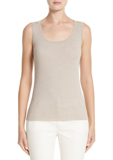 Lafayette 148 New York Metallic Trim Modern Ribbed Tank