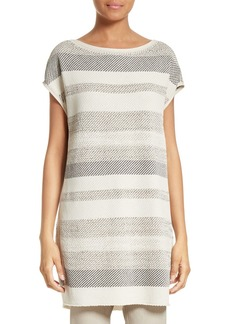 Lafayette 148 New York Metallic Twill Stitch Tunic