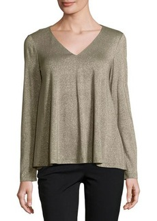 Lafayette 148 New York Metallic V-Neck Swing Top
