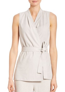 Lafayette 148 New York Mika Suede and Linen Vest