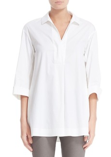 Lafayette 148 New York Mina Stretch Cotton Blouse