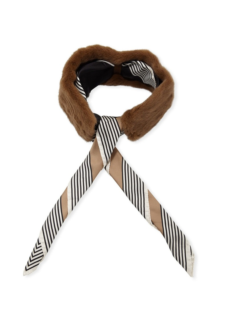 Lafayette 148 New York Mink Collar w/ Detachable Striped Silk Scarf