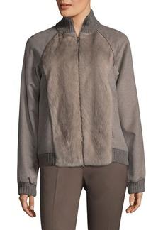 Lafayette 148 New York Mink Fur And Cashmere Jacket
