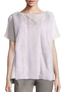 Lafayette 148 New York Mink Fur-Front Cashmere Sweater