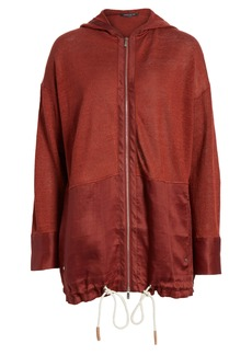 Lafayette 148 New York Mixed Material Sweater Jacket