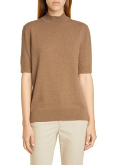 Lafayette 148 New York Mock Neck Metallic Cashmere Sweater