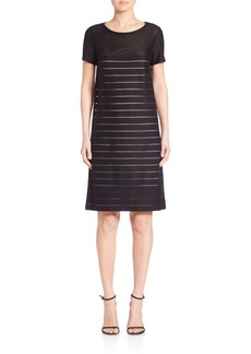 Lafayette 148 New York Mod Translucent Stripe Shift Dress