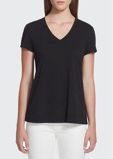 Lafayette 148 New York Modern V-Neck Short-Sleeve Cotton Jersey Tee