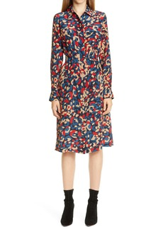 Lafayette 148 New York Mona Print Long Sleeve Silk Shirtdress