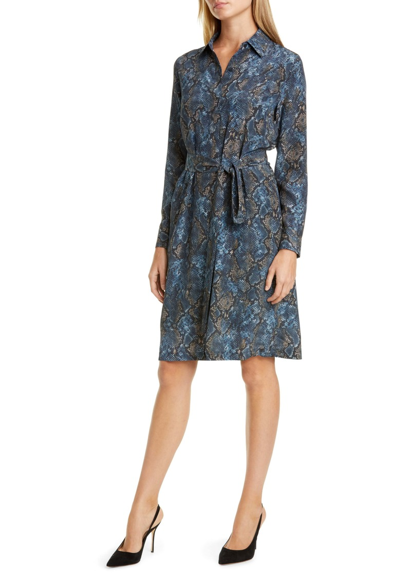 Lafayette 148 New York Mona Snake Print Long Sleeve Silk Shirtdress