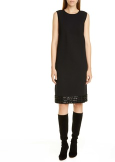 Lafayette 148 New York Morganna Sequin Hem Wool Shift Dress