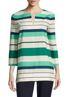 Lafayette 148 New York Moria Striped Cotton Blouse
