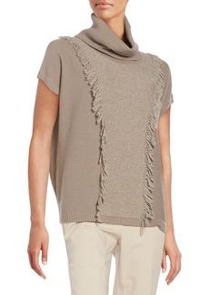 Lafayette 148 New York Multi-Stitch Fringed Wool Sweater