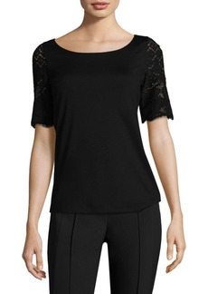 Lafayette 148 New York Natalie Lace-Sleeve Top