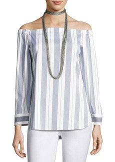 Natayla Striped Stretch-Cotton Off-the-Shoulder Blouse