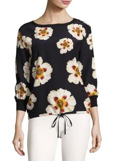 Lafayette 148 New York Nessa Artful Floral-Print Silk Blouse