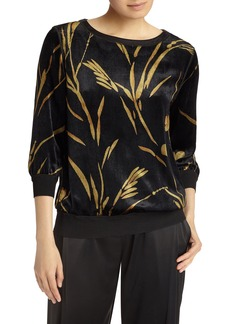 Lafayette 148 New York Nessa Golden Bloom Velvet Blouse