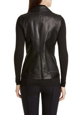 Lafayette 148 New York Nevaeh Leather Moto Vest