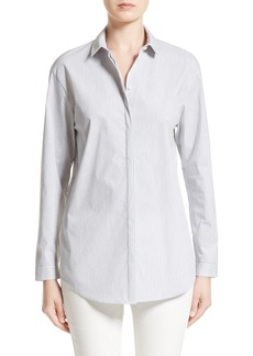 Lafayette 148 New York Sabira Melange Stripe Cotton Blend Blouse
