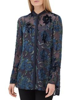 Lafayette 148 New York Nicolette Button-Front Long-Sleeve Floral Burnout Elite Panne Blouse