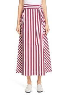 Lafayette 148 New York Nimah Stripe Belted Midi Wrap Skirt