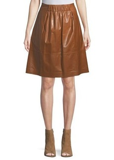 Lafayette 148 New York Noellene A-line Pull-On Leather Skirt