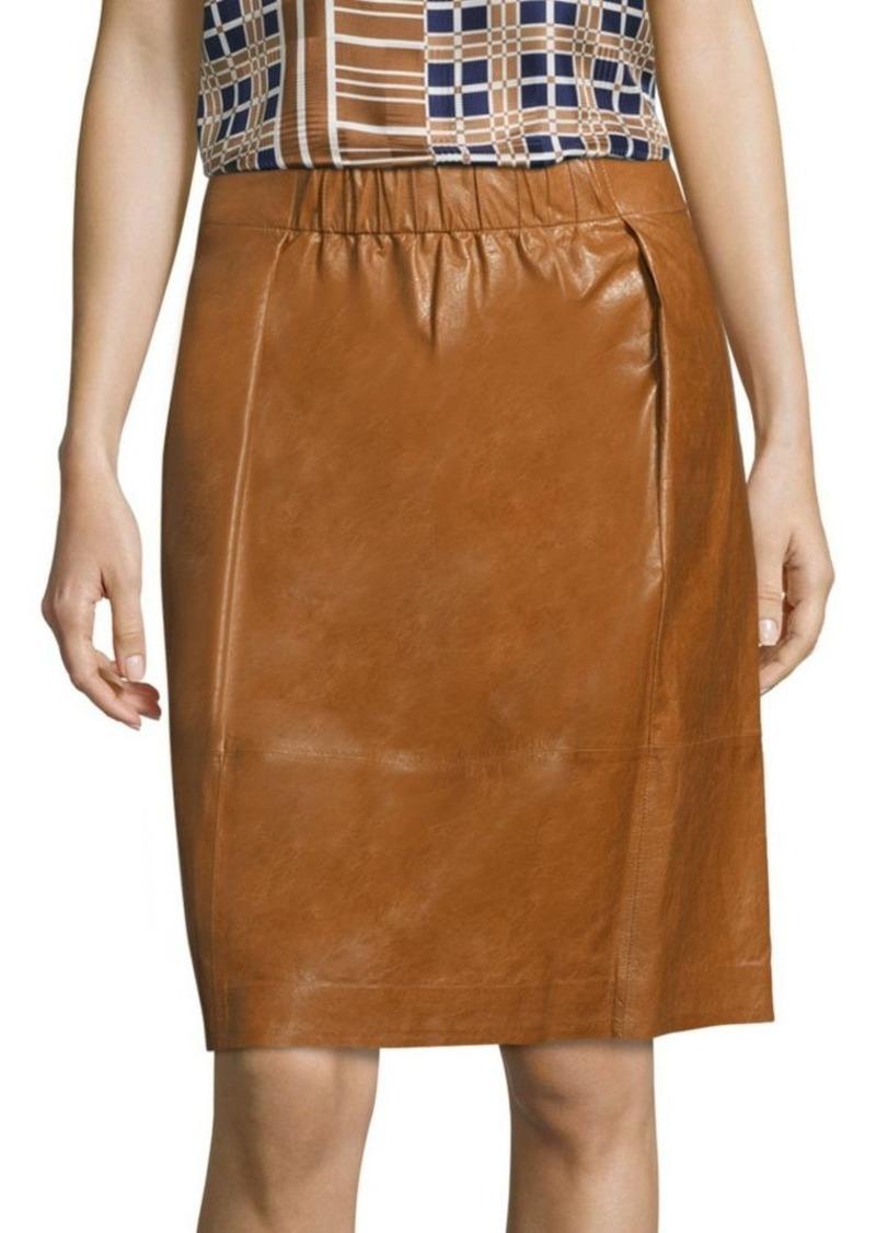 Lafayette 148 Noellene Lacquered Leather Skirt