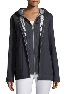 Lafayette 148 Nolene Dual-Sided Ponte Striped Reversible Jacket