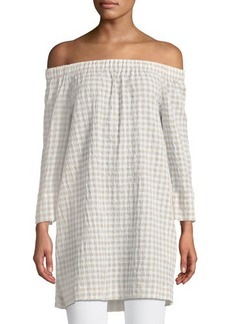 Lafayette 148 New York Off-the-Shoulder Gingham Tunic