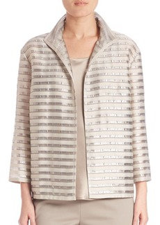 Lafayette 148 New York Open-Front Striped Jacket