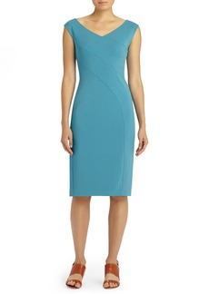 Lafayette 148 New York Open V-Neck Maquette Jersey Dress