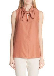 Lafayette 148 New York Ophelia Tie Neck Silk Top