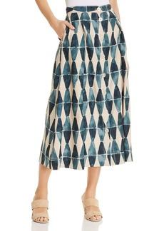 Lafayette 148 New York Orly Geo-Print A-Line Midi Skirt