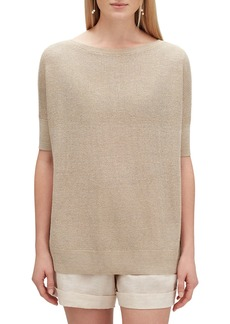 Lafayette 148 New York Oversized Boat-Neck Elbow-Sleeve Shimmer Tunic Sweater