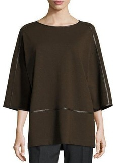 Lafayette 148 New York Oversized Faux-Leather Trim Top