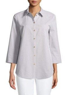 Lafayette 148 New York Paget Gingham Wide-Sleeve Button-Front Blouse
