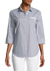 Lafayette 148 Paget Highbridge Striped 3/4-Sleeve Button-Front Top
