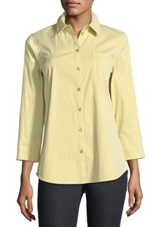 Lafayette 148 New York Paget Ithaca Mini-Check Shirting Blouse