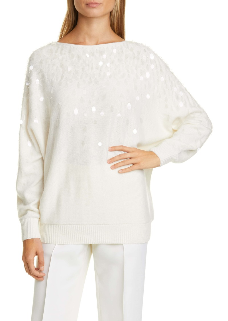 Lafayette 148 New York Paillette Detail Cashmere Sweater