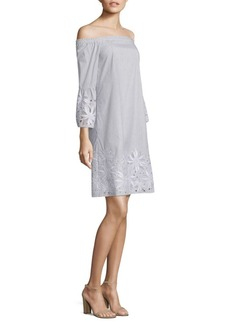 Lafayette 148 New York Palmira Embroidered Off-The-Shoulder Dress