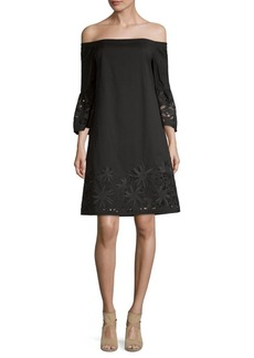 Lafayette 148 Palmira Off-The-Shoulder Shift Dress