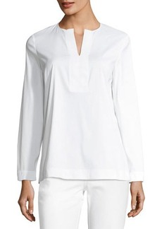 Lafayette 148 New York Payton Long-Sleeve Poplin Blouse