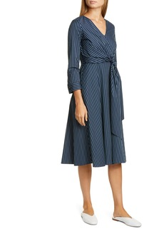Lafayette 148 New York Penelope Stripe Faux Wrap Midi Dress