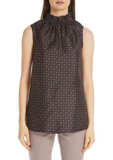 Lafayette 148 New York Percy Ruffle Neck Silk Blouse