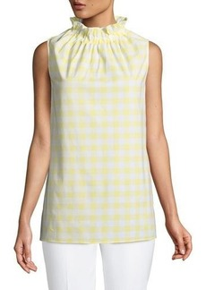 Lafayette 148 New York Percy Sleeveless Gingham Mock-Neck Blouse